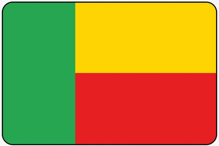 ensign: A Flat Design Flag Illustration with Rounded Corners and Black Outline of the country of Benin