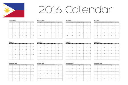 agenda year planner: A 2016 Calendar with the Flag of Philippines