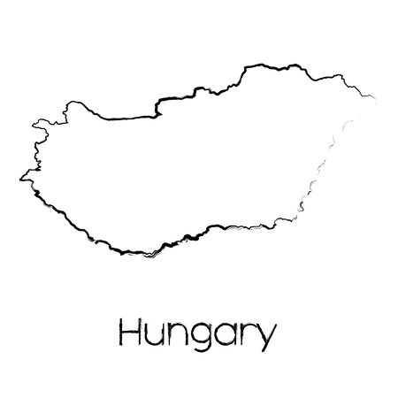 scribbled: A Scribbled Shape of the Country of Hungary Illustration