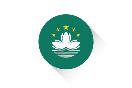 macau: A Round flag with shadow of Macau