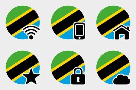 tanzania: A Web Icon Set with the Flag of Tanzania Illustration