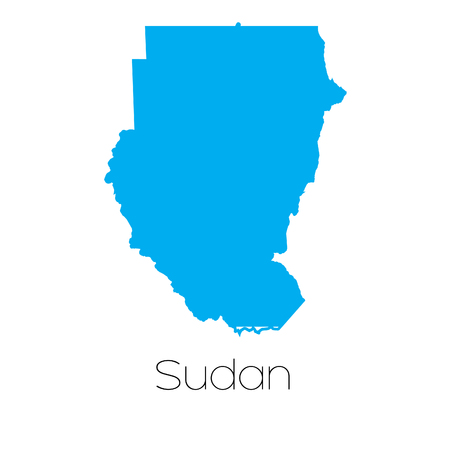 sudan: A Blue shape with name of the country of Sudan