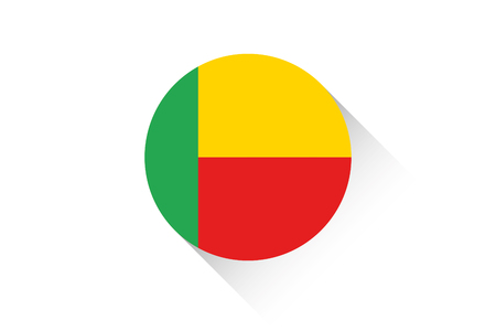 benin: A Round flag with shadow of Benin Illustration