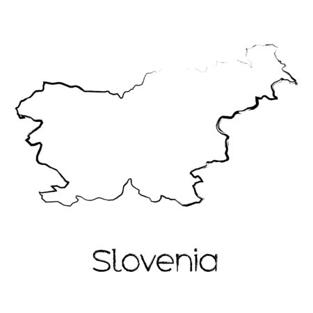 scribbled: A Scribbled Shape of the Country of Slovenia Illustration