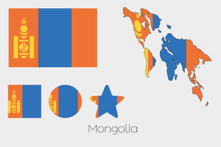 mongolia: Illustrated Multiple Shapes Set with the Flag of Mongolia