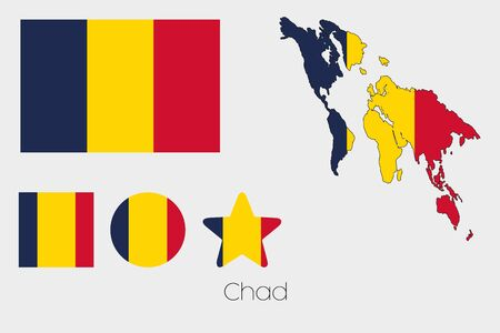 tchad: Illustrated Multiple Shapes Set with the Flag of Chad Illustration