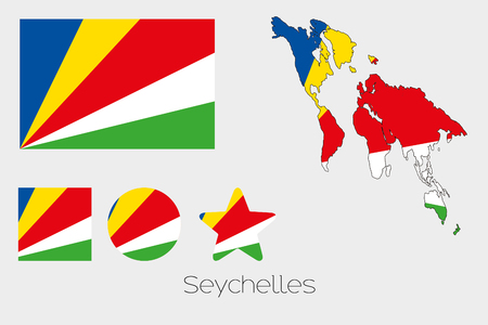seychelles: Illustrated Multiple Shapes Set with the Flag of Seychelles Illustration