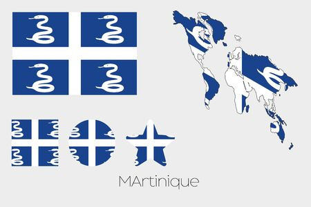 martinique: Illustrated Multiple Shapes Set with the Flag of Martinique