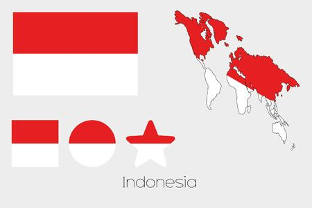 indonesia culture: Illustrated Multiple Shapes Set with the Flag of Indonesia