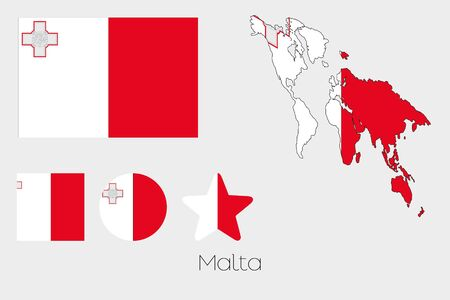 malta: Illustrated Multiple Shapes Set with the Flag of Malta