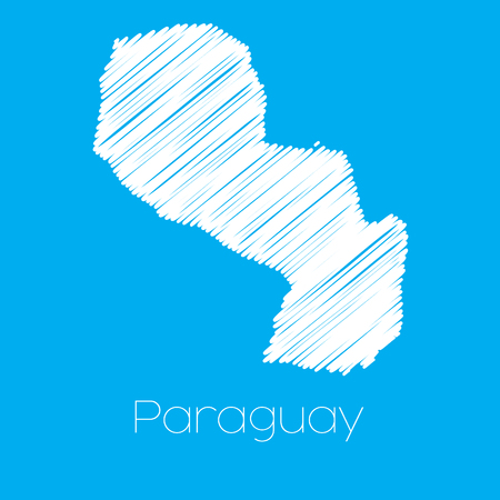 paraguay: A Map of the country of Paraguay Illustration