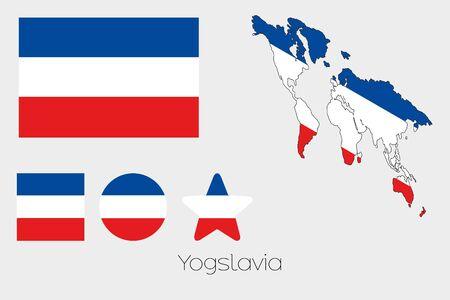 yugoslavia: Illustrated Multiple Shapes Set with the Flag of Yugoslavia Illustration