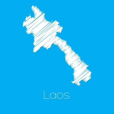 laos: A Map of the country of Laos Illustration