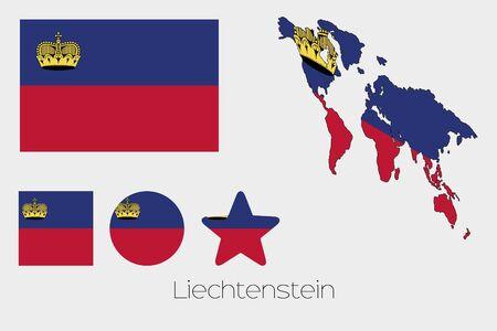 liechtenstein: Illustrated Multiple Shapes Set with the Flag of Liechtenstein Illustration