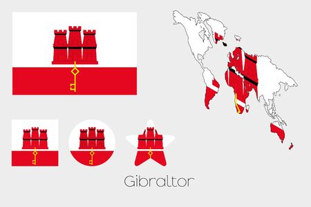 gibraltar: Illustrated Multiple Shapes Set with the Flag of Gibraltar