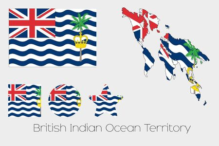 indian ocean: Illustrated Multiple Shapes Set with the Flag of British Indian Ocean Territory