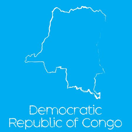democratic republic of the congo: A Map of the country of Democratic Republic of Congo Illustration