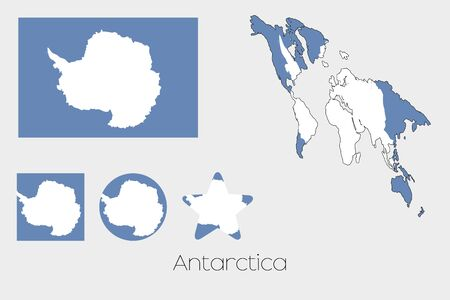 antartica: Illustrated Multiple Shapes Set with the Flag of Antartica Illustration