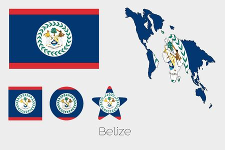 belize: Illustrated Multiple Shapes Set with the Flag of Belize