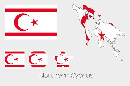 northern: Illustrated Multiple Shapes Set with the Flag of Northern Cyprus