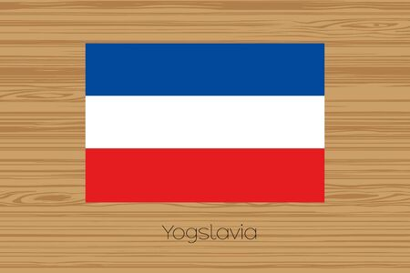 yugoslavia: An Illustration of a wooden floor with the flag of Yugoslavia Stock Photo