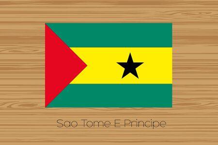 principe: Una ilustración de un suelo de madera con la bandera de Santo Tomé y Príncipe Foto de archivo