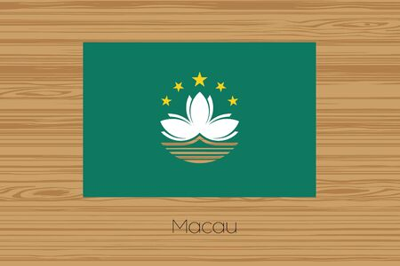 macau: An Illustration of a wooden floor with the flag of Macau