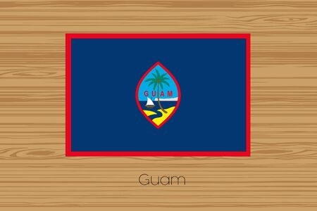guam: An Illustration of a wooden floor with the flag of Guam