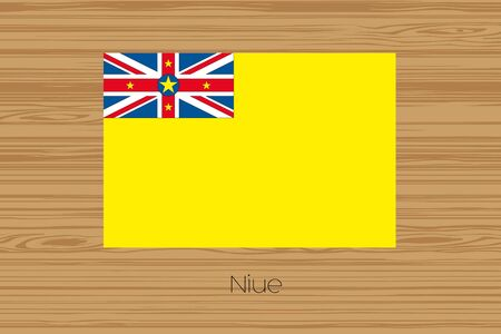 niue: An Illustration of a wooden floor with the flag of Niue