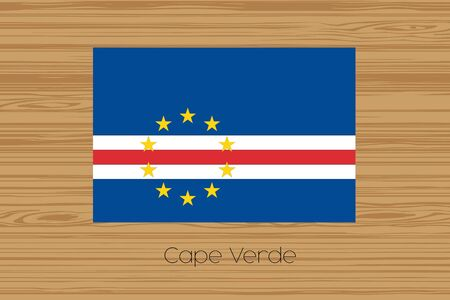 cape verde flag: An Illustration of a wooden floor with the flag of Cape Verde