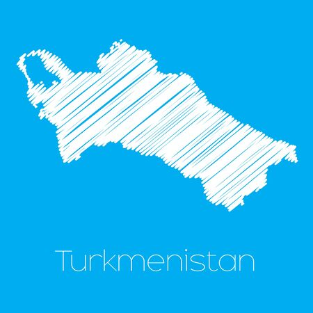 turkmenistan: A Map of the country of Turkmenistan Illustration