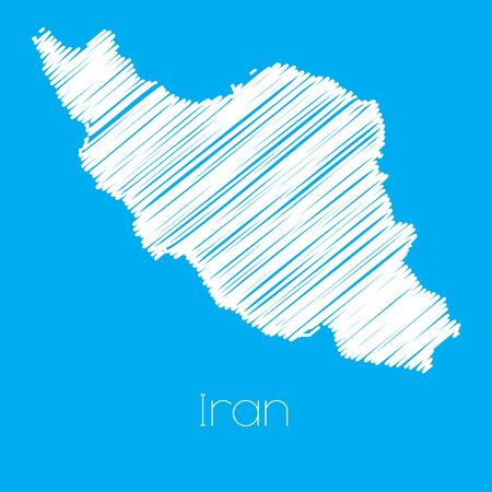 iran: A Map of the country of Iran Illustration