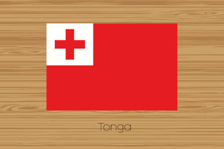 tonga: An Illustration of a wooden floor with the flag of Tonga