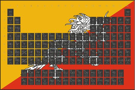 actinides: A Periodic Table of Elements overlayed on the flag of Bhutan