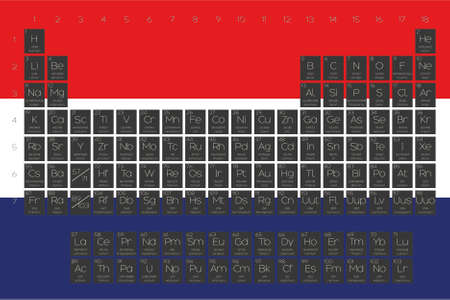 A Periodic Table of Elements overlayed on the flag of Netherlands Stock Photo