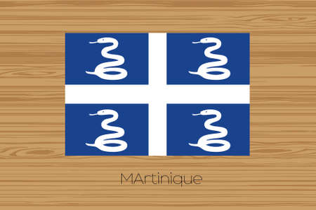 martinique: An Illustration of a wooden floor with the flag of Martinique
