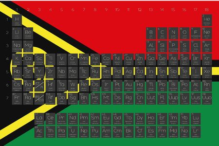 A Periodic Table of Elements overlayed on the flag of Vanuatu
