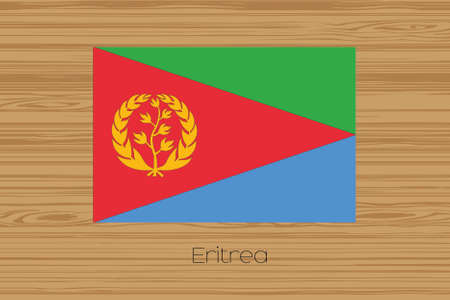 eritrea: An Illustration of a wooden floor with the flag of Eritrea