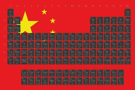 A Periodic Table of Elements overlayed on the flag of China Stock Photo