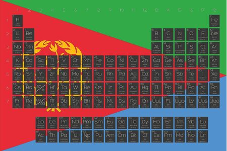 actinides: A Periodic Table of Elements overlayed on the flag of Eritrea