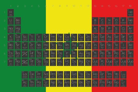 actinides: A Periodic Table of Elements overlayed on the flag of Senegal