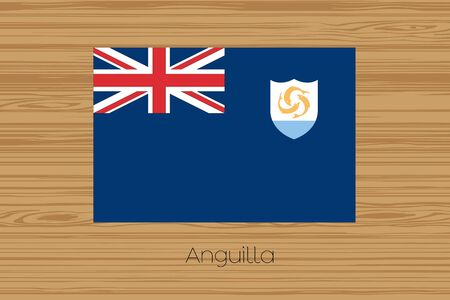 anguilla: An Illustration of a wooden floor with the flag of Anguilla