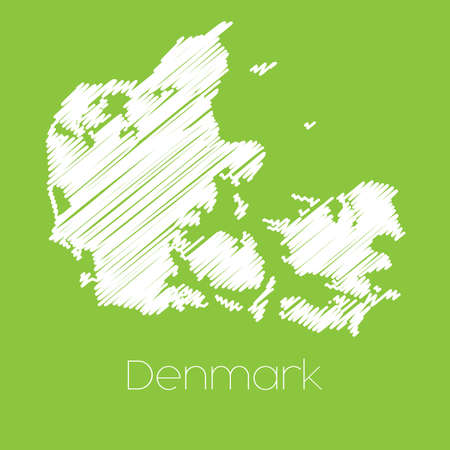 denmark: A Map of the country of Denmark Stock Photo
