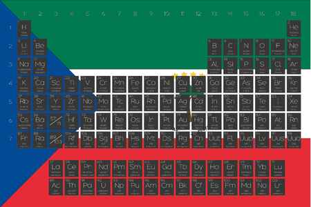 A Periodic Table of Elements overlayed on the flag of Equitorial Guinuea Stock Photo