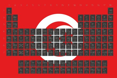 actinides: A Periodic Table of Elements overlayed on the flag of Tunisia Stock Photo