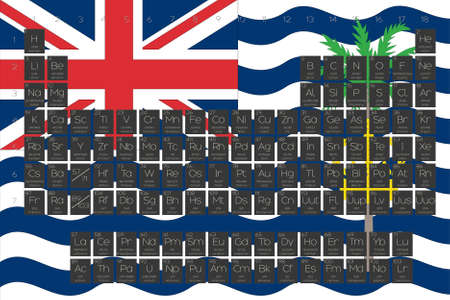 indian ocean: A Periodic Table of Elements overlayed on the flag of British Indian Ocean Territory