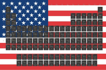 actinides: A Periodic Table of Elements overlayed on the flag of United States of America Stock Photo