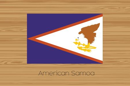 samoa: An Illustration of a wooden floor with the flag of American Samoa