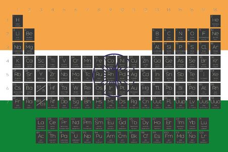 A Periodic Table of Elements overlayed on the flag of India