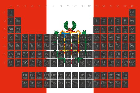 A Periodic Table of Elements overlayed on the flag of Peru Stock Photo
